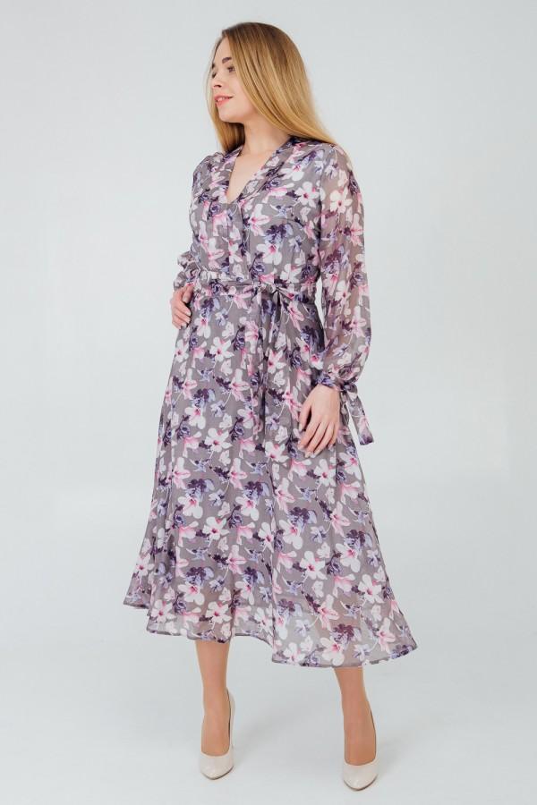 Стильне плаття весни 2020 великого розміру VN42901 сірий квіти