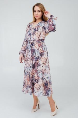 Стильне плаття весни 2020 великого розміру VN42904 синій квіти