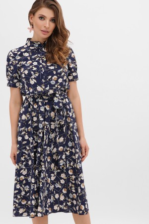 Плаття весни 2020 Изольда GL866405 синій квіти