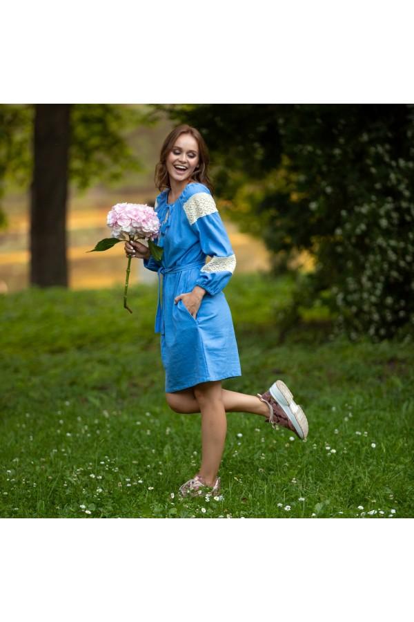 Етно-плаття вишиванка MR109 блакитне