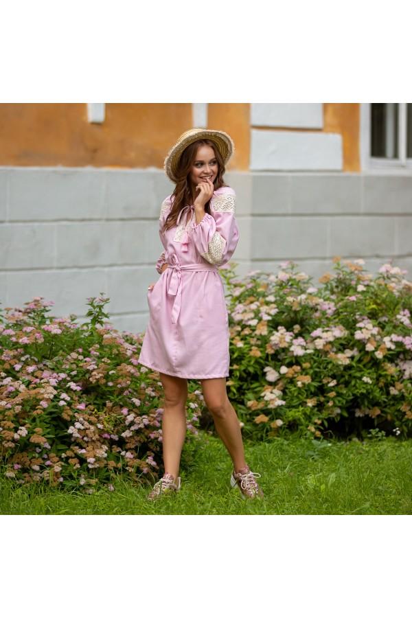 Етно-плаття вишиванка MR107 пудра