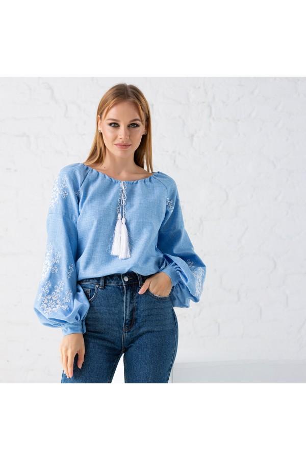 Блуза вишиванка блакитна MR201
