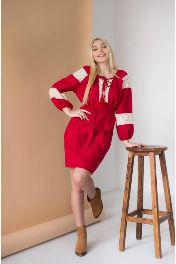 Етно-плаття вишиванка MR105 червоне
