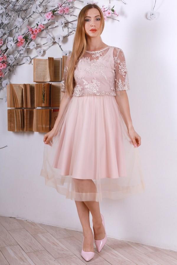 Праздничное розовое платье з евросеткою YM32012 пудра