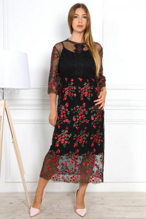 Святкове плаття 2020 з гіпюром YM34302 чорне