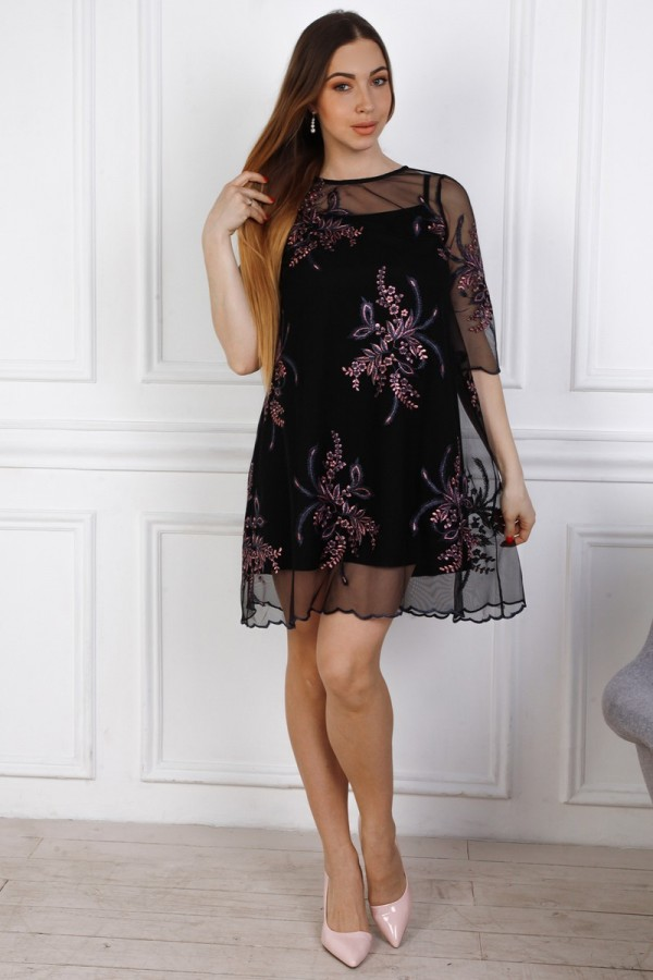 Нарядне  плаття трапеція  YM32614 чорна
