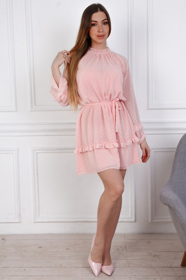 Нежное платье свободного кроя YM35903 пудра