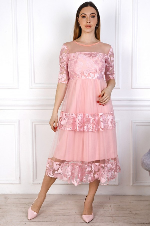 Святкове рожеве плаття з євросіткою YM36004 рожеве