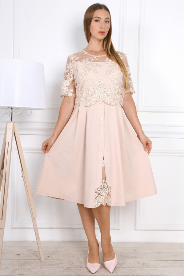 Нарядное  платье YM37504 с евросеткой большого размера