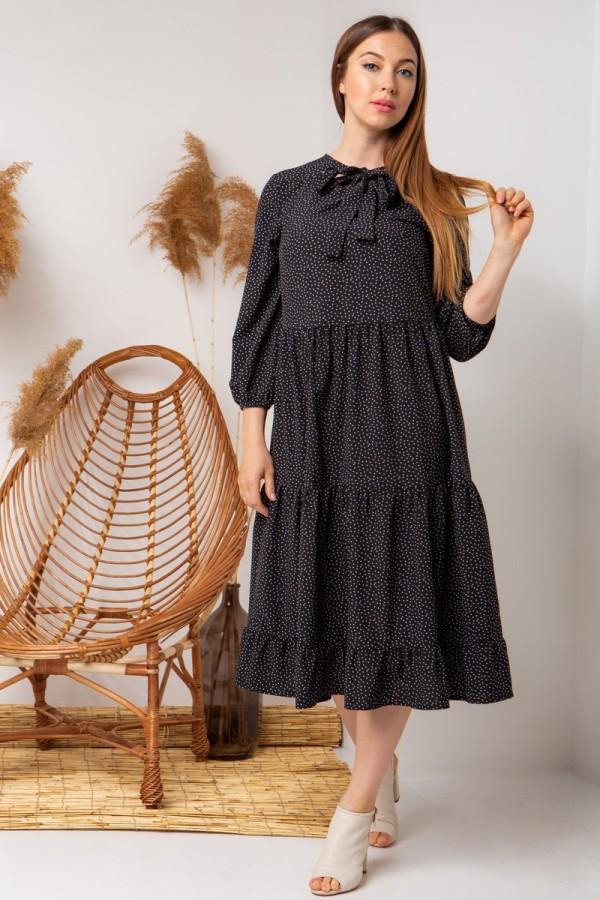 Летнее платье цветы YM40102 черный
