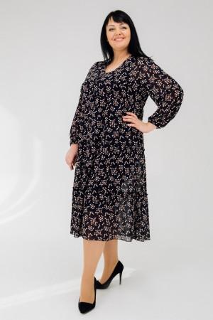 Стильне плаття весни 2020 великого розміру VN43202  темно-синій лепестки