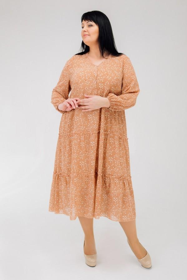 Стильное платье большого весна 2020 размера VN43203 персик  цветы
