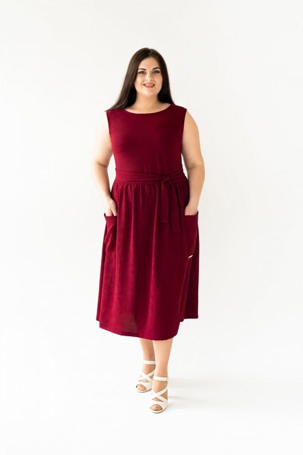 Платье лета 2020 размера VN43601 бордо