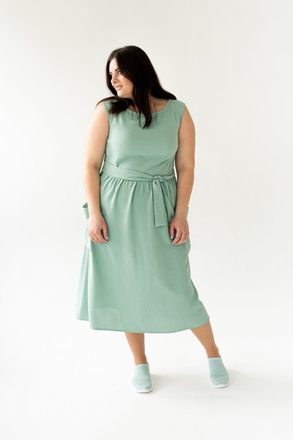 Стильное платье большого весна 2020 размера VN43602 мята