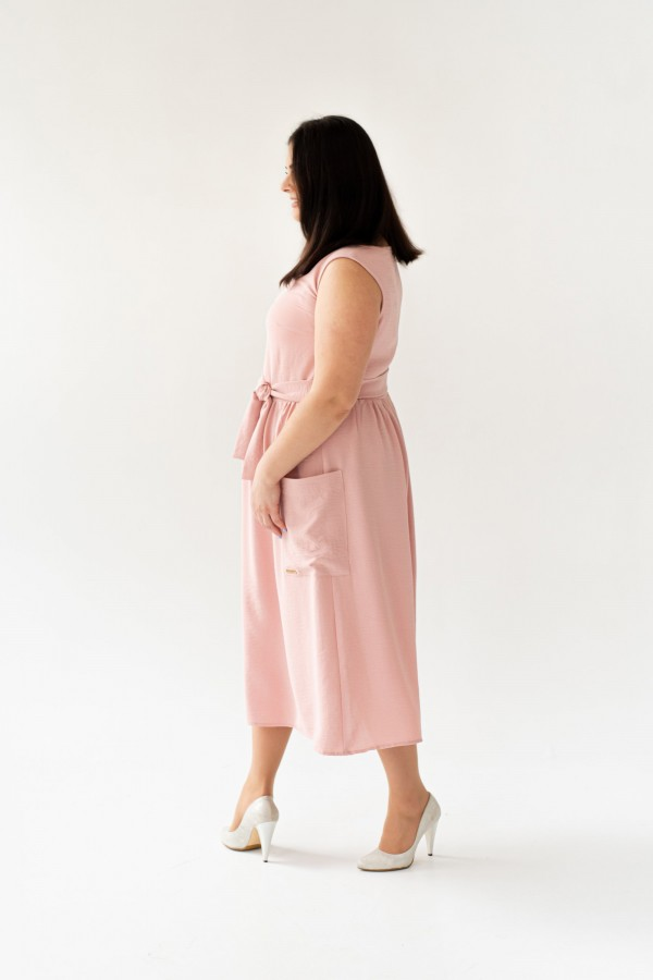 Стильное платье большого весна 2020 размера VN43603 пудра