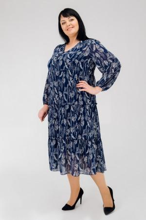 Стильне плаття весни 2020 великого розміру VN43201 синій лепестки