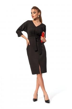 Святкове плаття  міді з поясом SL123303 чорне