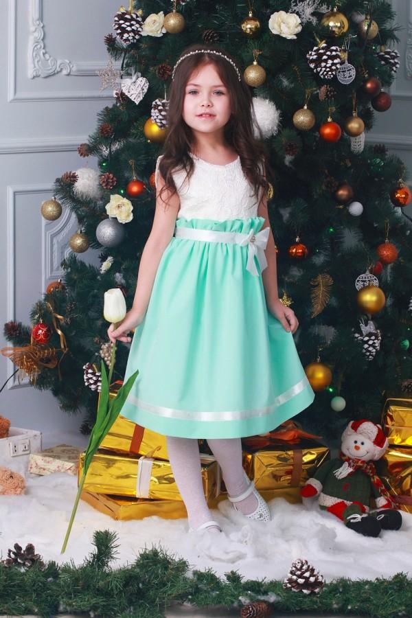 Платье   детское  бирюзовое 00402