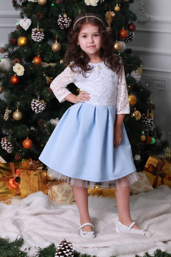 Платье детское голубое 02101