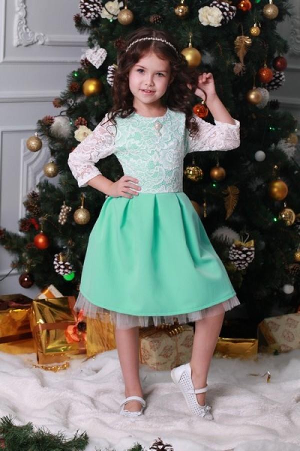 Платье   детское  бирюзовое 02102