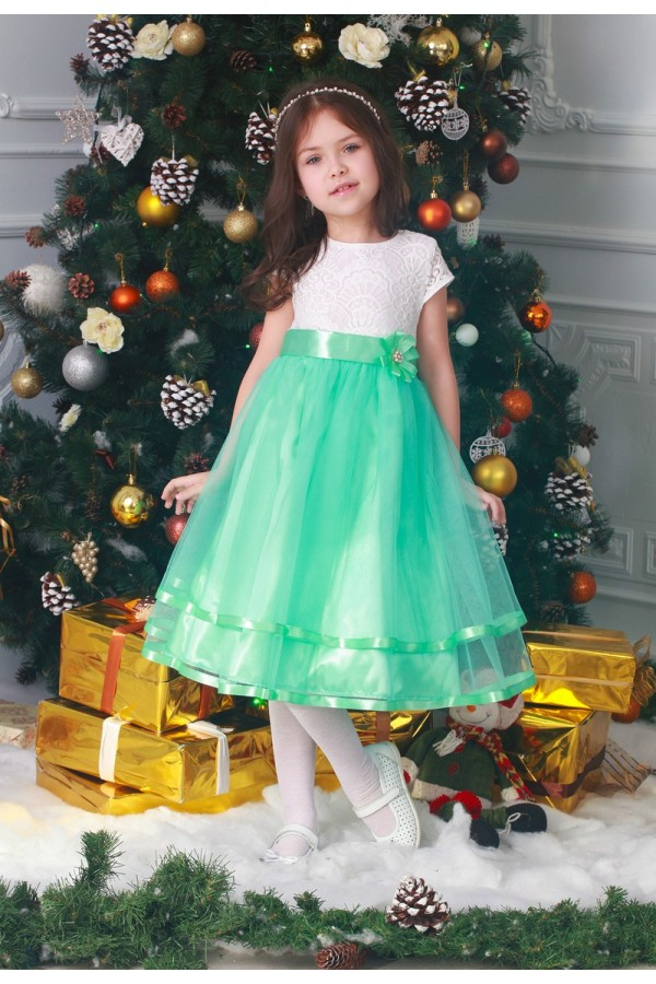 Платье   детское  бирюзовое 02302