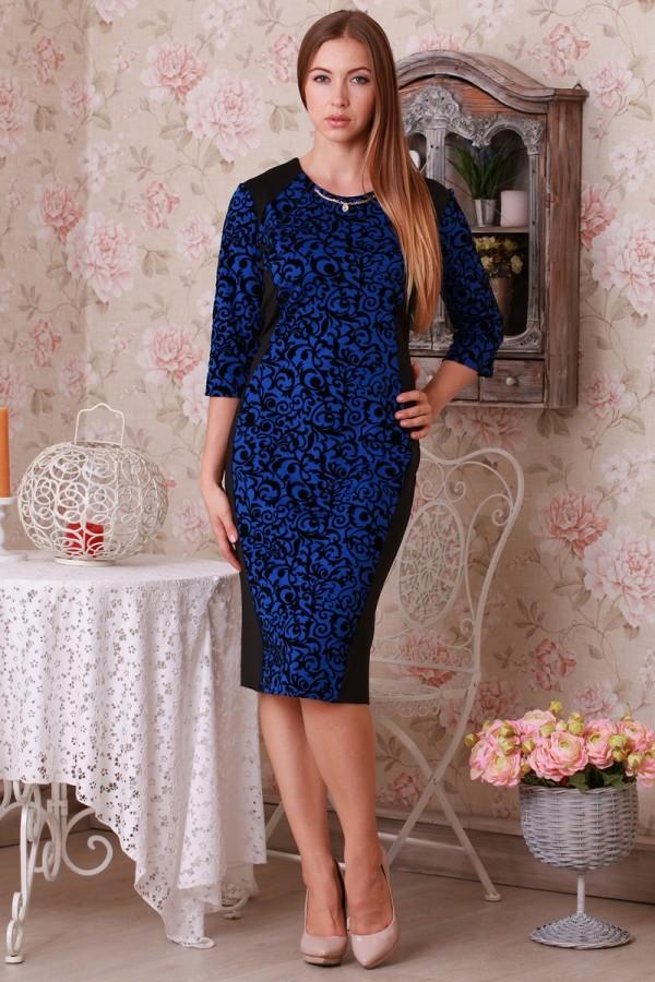 Платье Ажур 14202 электрик/чёрный