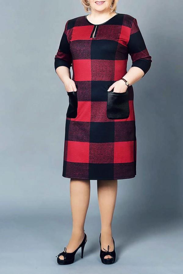 Платье М225 красно-черное клетка