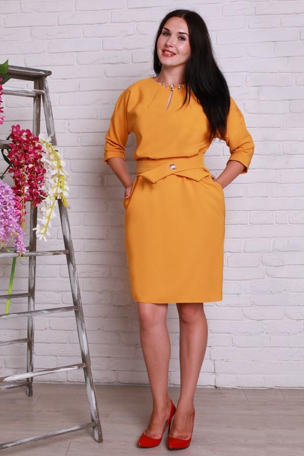 Платье 497 полубатал горчица