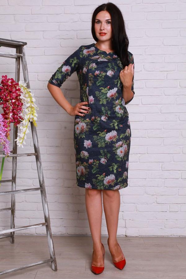 Платье 501 полубатал аногора синий  розы