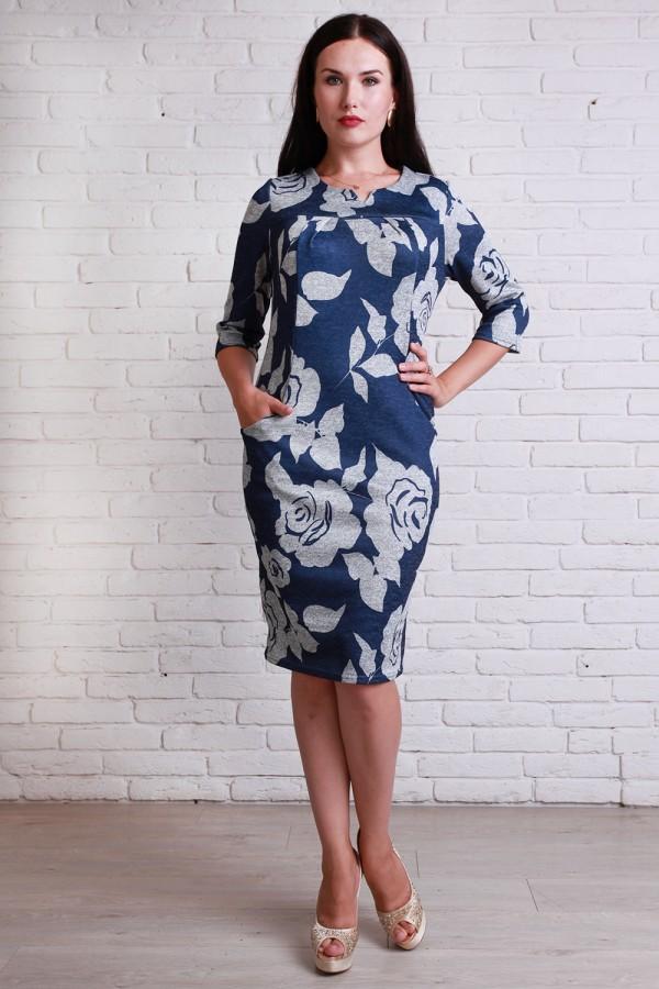 Платье 501 полубатал  серые цветы