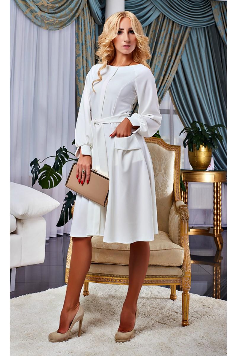 a796f1779fdb5f Купити біле осіннє плаття AD15902 від виробника з доставкою у Львів ...