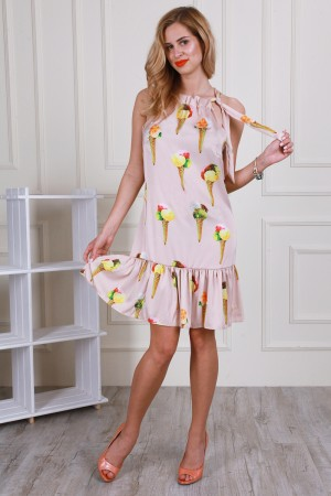Бежевое летнее платье AL59502