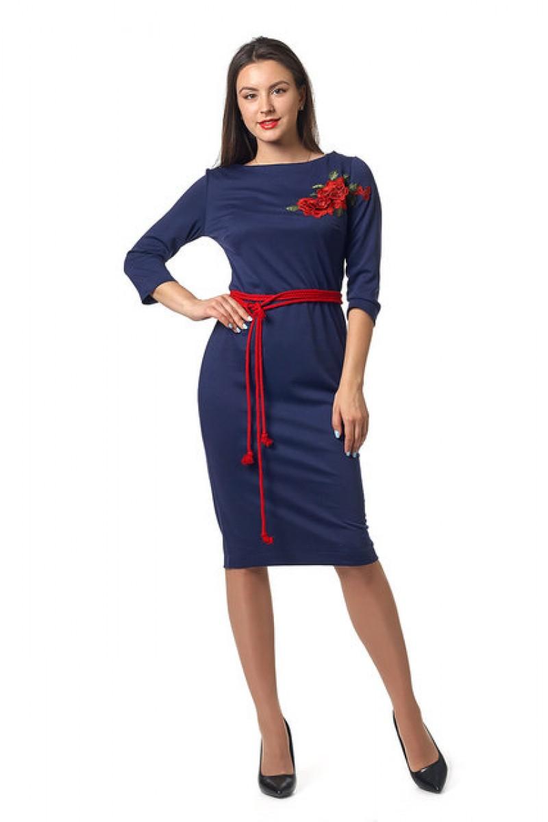 Молодіжне плаття Емілія 0252-3 вишиванка синя ef7dc69964785