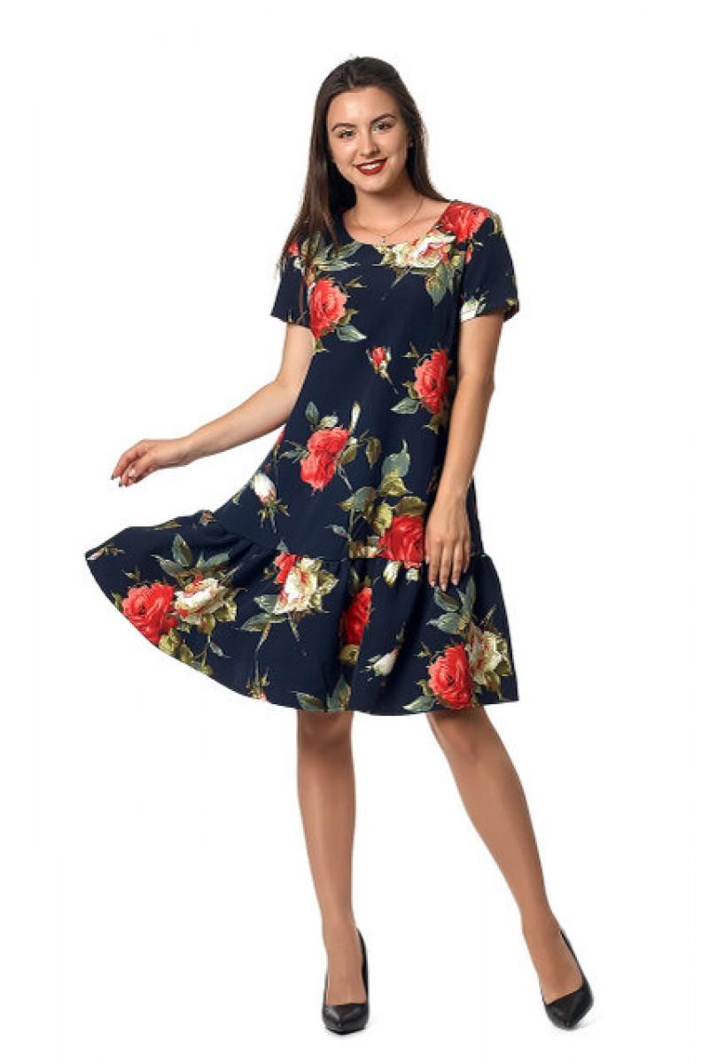 11aa0dfce9fbce Купити льняне молодіжне плаття недорого синє з розами 0255-2 з ...