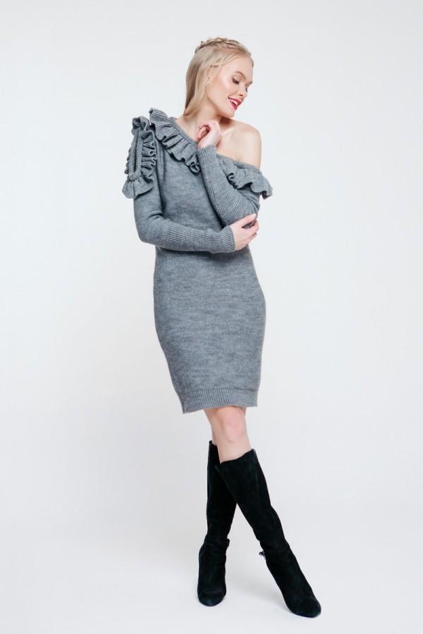 Серое вязаное платье 2018 PW489020000