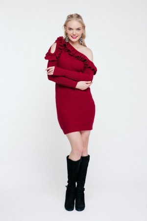 Бордове в'язане плаття PW489080000
