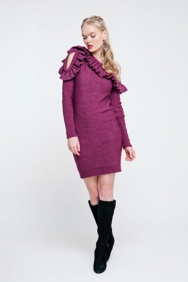 Вязаное платье 2018 цвет фуксия PW489140000