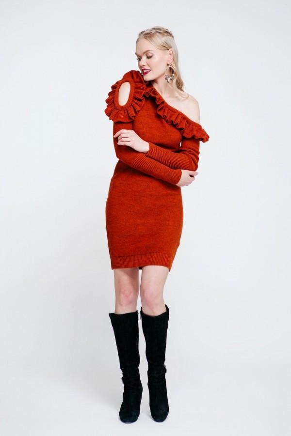 Вязаное платье 2018 цвета терракот PW489200000