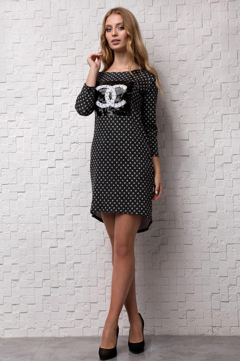 Купити повсякденне плаття чорного кольору в горох від виробника з ... c5d7431b1a956
