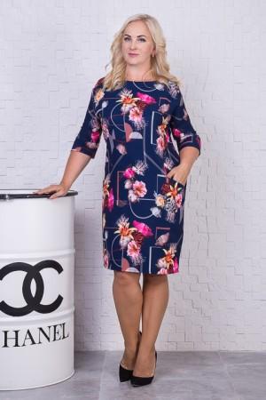 Осіннє   плаття великого розміру SL78401 квіти