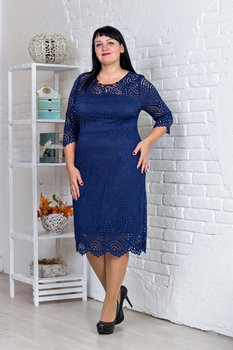 Купити нарядне плаття великого розміру синього кольору VN31103 від ... f2e48e4998d4d