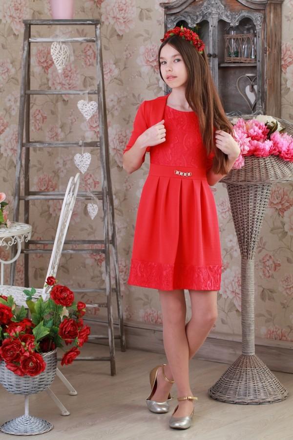 Платье подростковое 0151 красное