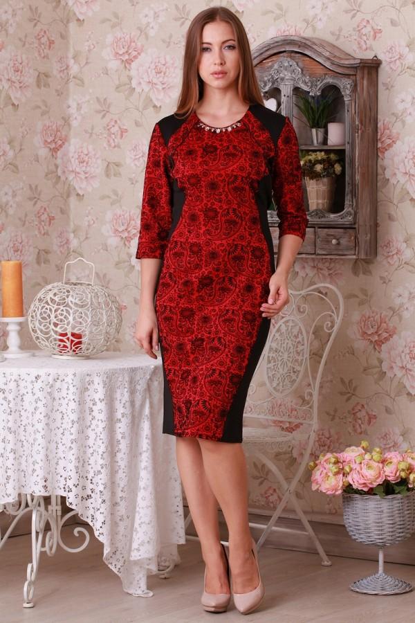 Платье Ажур 142 красный/чёрный