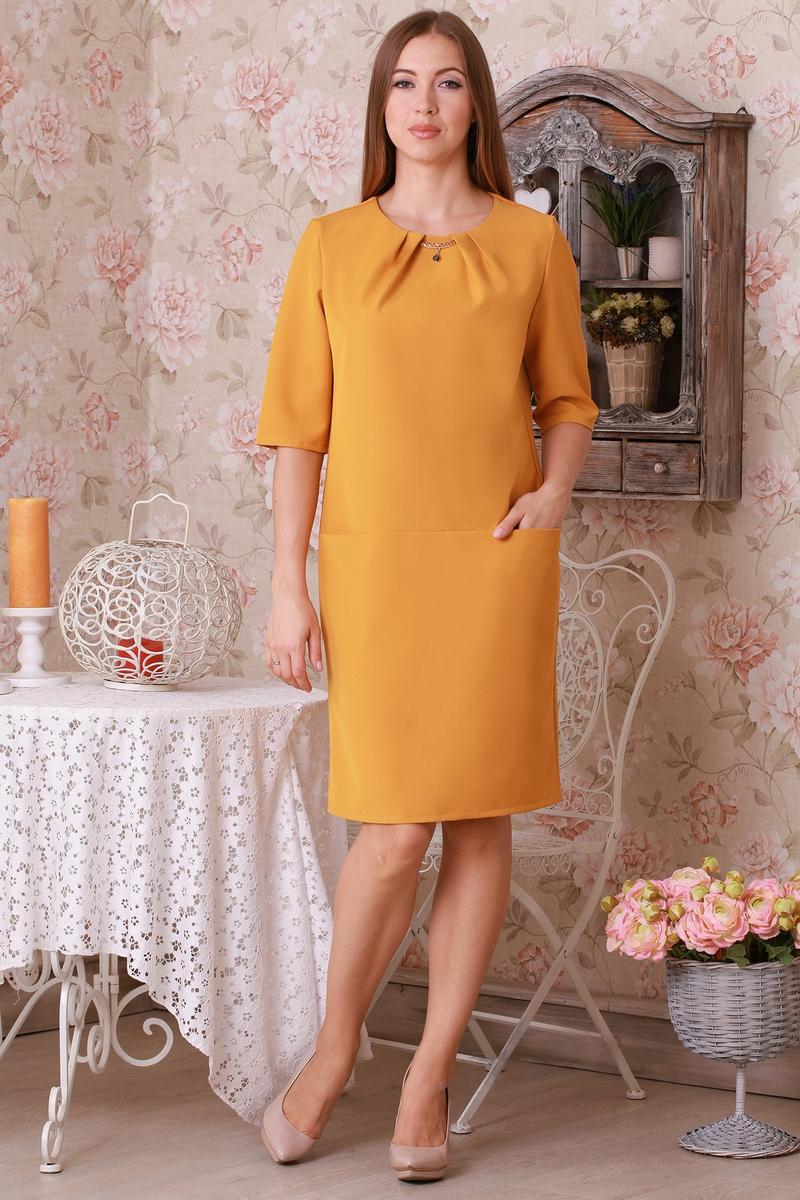 Купити плаття гірчичного кольору з костюмного трикотажу оптом та в ... 258b842a7660f