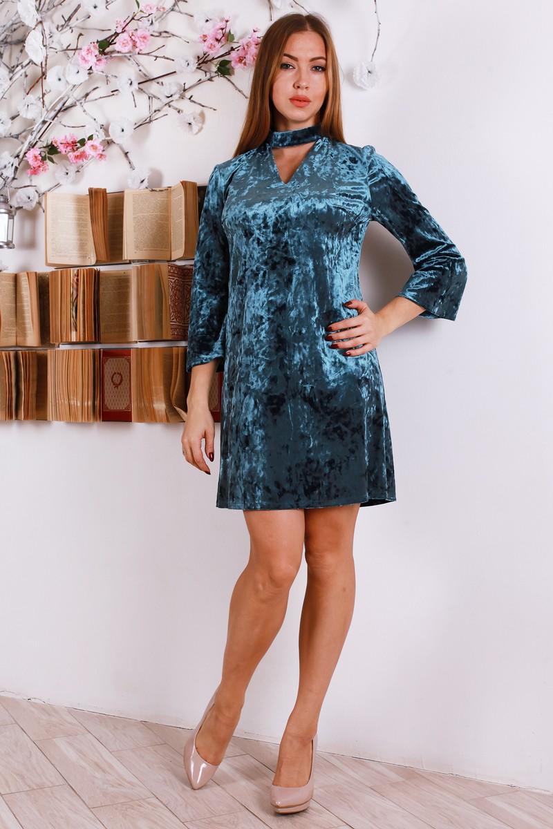 1d26111d680491 Купити святкове плаття з велюру бірюзового кольору YM30203 від ...