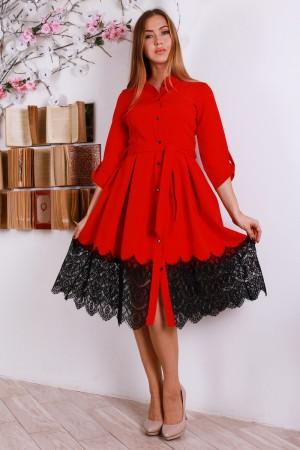 Стильне нарядне плаття з гіпюром YM30601 червоний