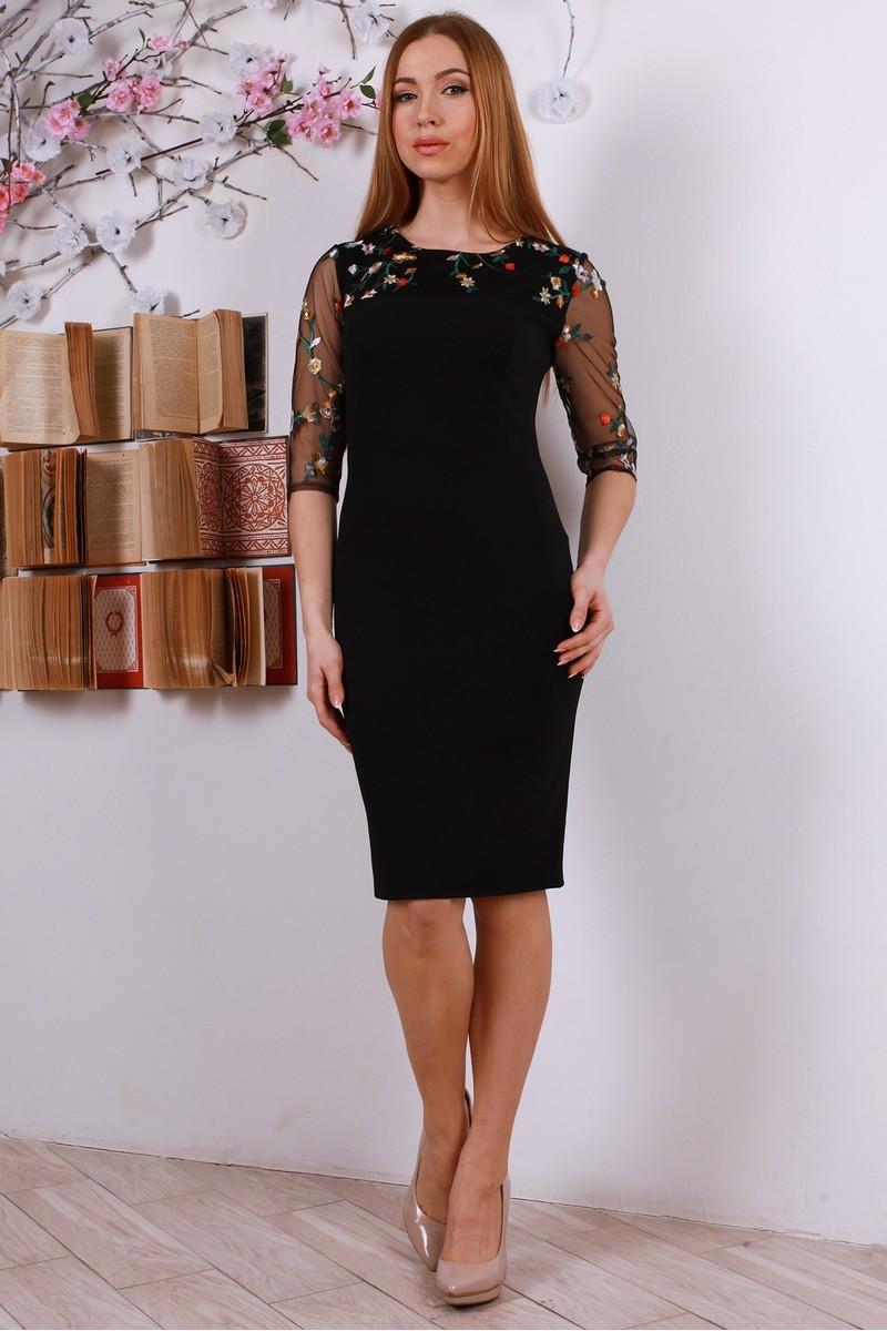 Купити стильне плаття з вишивкою YM31603 чорне від виробника з ... 33f7bdc094226
