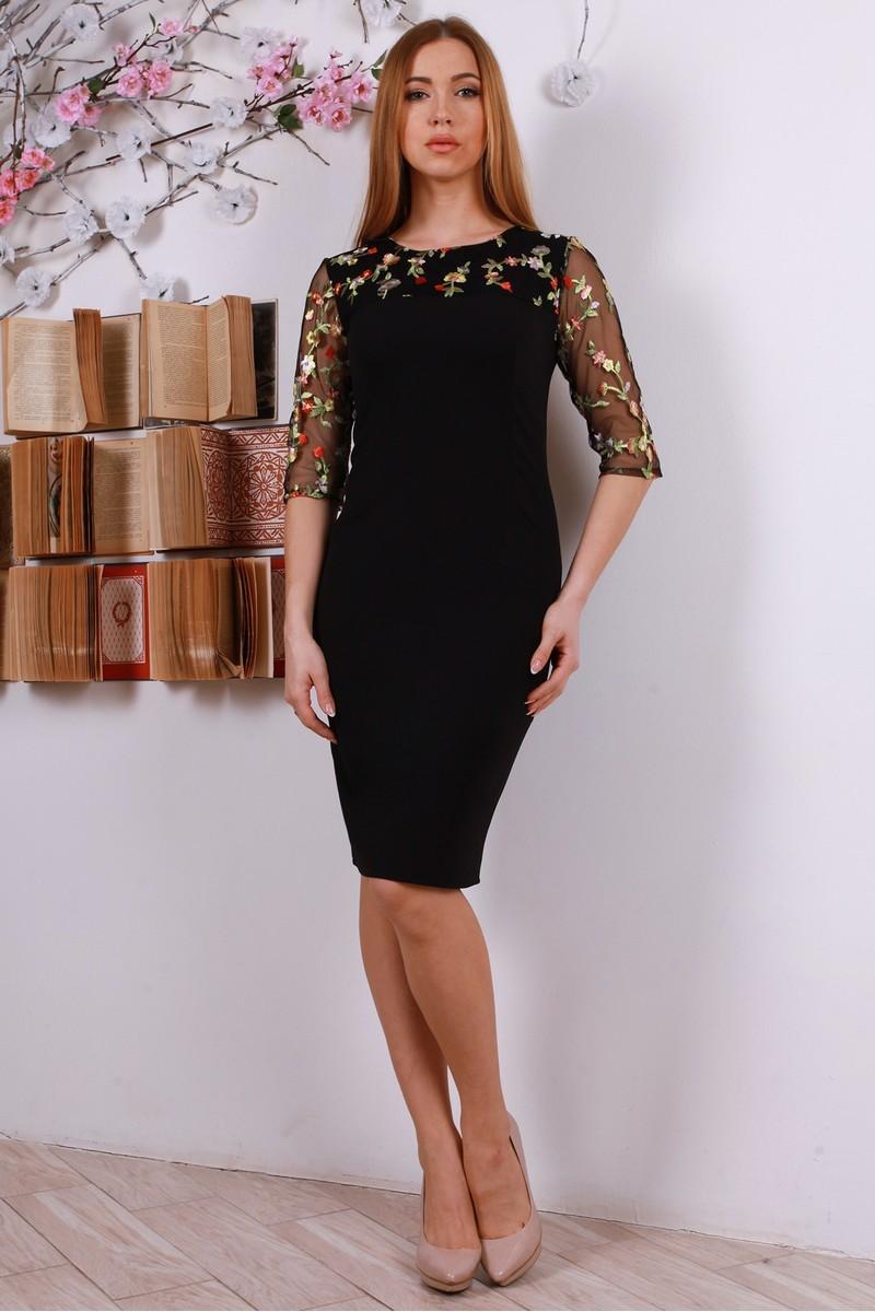 Купити стильне плаття з вишивкою YM31605 чорне від виробника з ... 2a4463956576b