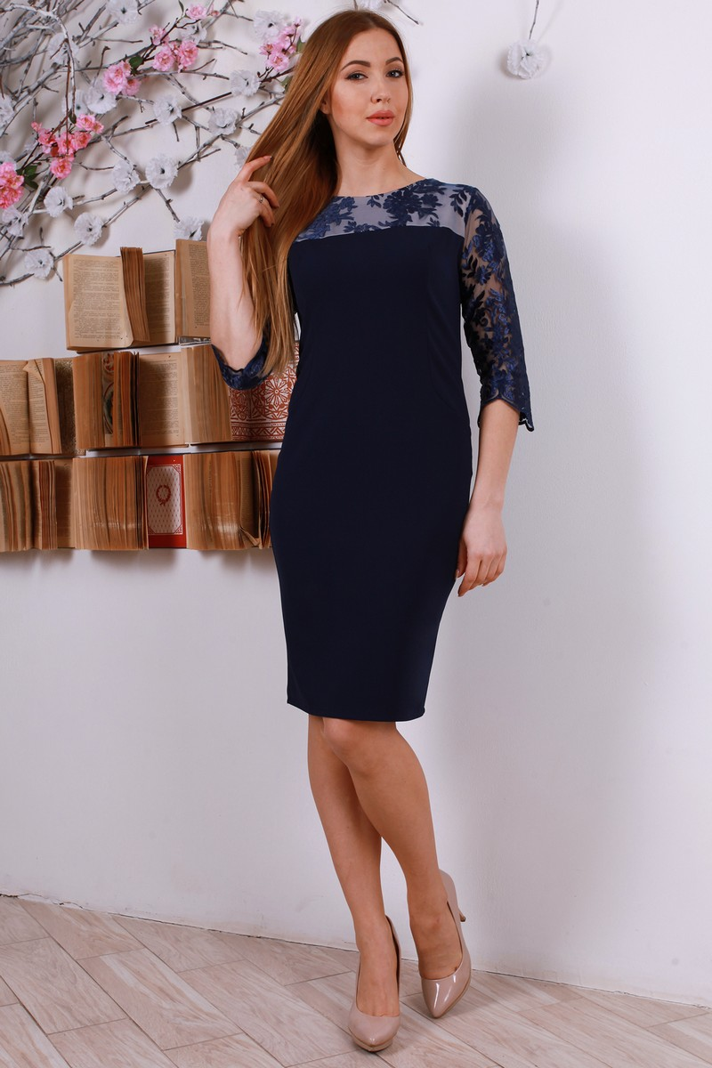 Купити стильне плаття з гіпюром YM31701 синє від TM Goody з ... aa68974402942