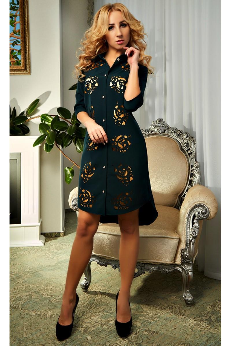 8e2ac0a2d1d Купить зеленое платье с перфорацией 2018 Кирра AD19303 недорого от ...